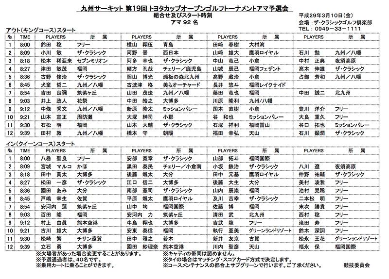 九州サーキット 第19回 トヨタカップオープンゴルフトーナメントアマ予選会